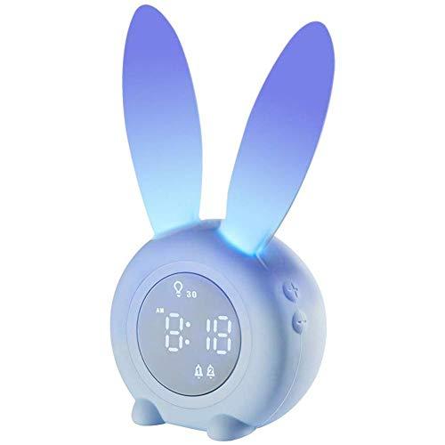 Blentude Kinder Lichtwecker Cute Rabbit Wake Up Kinderwecker Creative Nachttischlampe Snooze-Funktion, zeitgesteuertes Nachtlicht, Kindertagesgeschenk für Kinder, Mädchen