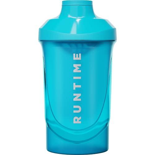 Runtime Protein-Shaker | Sport-Flasche für Nutrition und Fitness | 600ml Fassungsvermögen | mit Sieb - 100% dicht | BPA-frei - inkl. Messskala (Neon Blue)