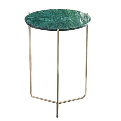 Tables basses Canapé en Marbre Côté Coin Salon Balcon Rond en Fer Forgé Petite Table Table Créative Cadeau (Color : Green, Size : 40 * 55cm)