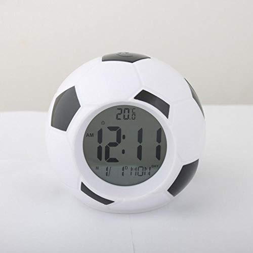 FPRW Digitale voetbalklok met achtergrondverlichting voor temperatuur, geluid, afstandsbediening, led-wekker, beste cadeau voor kinderen, zwart