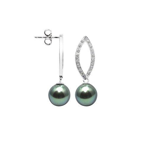 Pendientes Perlas Tahiti, Diamantes y oro blanco 750/1000 - BPS K355 W - Blue Pearls