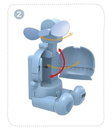 2 Ventilador personal de mano de In1mini Fan de mano USB ventilador de reloj multifuncional-Azul claro