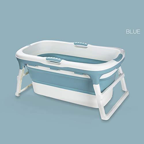 Tragbare Faltbadewanne, Erwachsenen Wannenbad Mit Deckel Silikon Konstante Isolierung Plastikbadewanne Schwimmbad Großer Raum (Color : Blue -B)