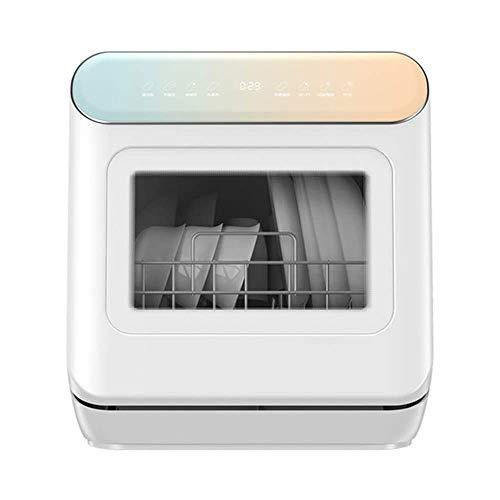 LKNJLL Lave-Vaisselle Countertop, 4 pièces, 8 Contrôle de Programme, Porte en Verre Blanc