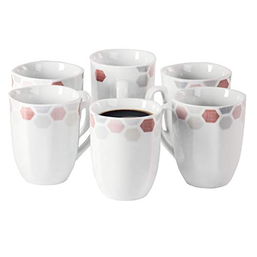 Van WELL Set van 6 koffiemokken Arte 300-350 ml Jumbo-beker koffiekop thee-pot warme dranken in XL-formaat feestelijk decor edel hotel-porselein tafelservies