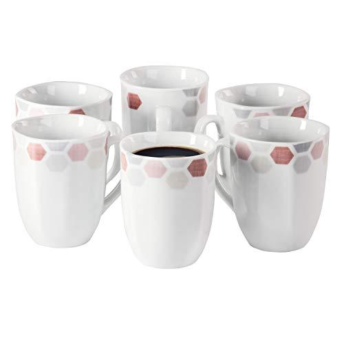 Van WELL Set van 6 koffiemokken Arte 300-350 ml Jumbo-beker koffiekop thee-pot warme dranken in XL-formaat feestelijk decor edel hotel-porselein tafelservies