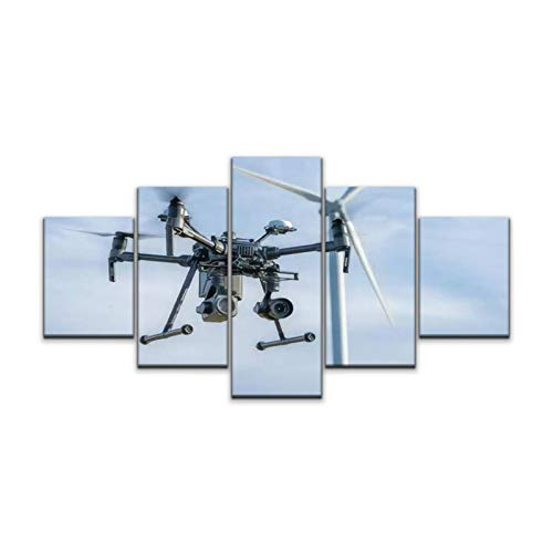 JOEJRTGRKADW Canvas Art Wall Industrial Drone Equipped with Two Cameras for Inspection of Rotor Paintings Vintage Prints Home Decor Artworks Gift Ready to Hang for Living Room 5 Panels Large Size