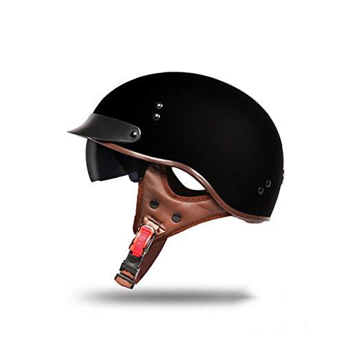 GAOZH Motorradhelm,Mopedhelm Halbschalenhelm Retro Jethelm Für Damen Und Herren ECE Zertifizierung Mit Visier Erwachsene Oldtimer Vintage Style Harley-Helm