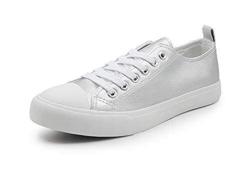 Womens Sneakers Tennis Vegan Leather Shoes Casual Shoes for Women Low Top Cap Toe Flats (9, Silver)