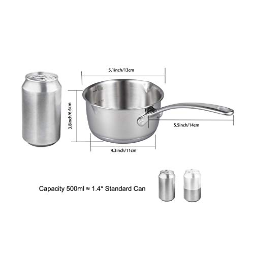 Product Image 3: IMEEA 1/2-Quart Saucepan Butter Warmer 18/10 Tri-Ply Stainless Steel Butter Melting Pot with Dual Pour Spouts
