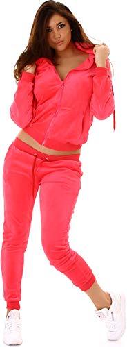 Jela London Damen Nicki Hausanzug Jogginganzug Velours Samt Jogginghose Freizeithose Kordel Tunnelzug Jacke, Neon Apricot 34 36 (S)
