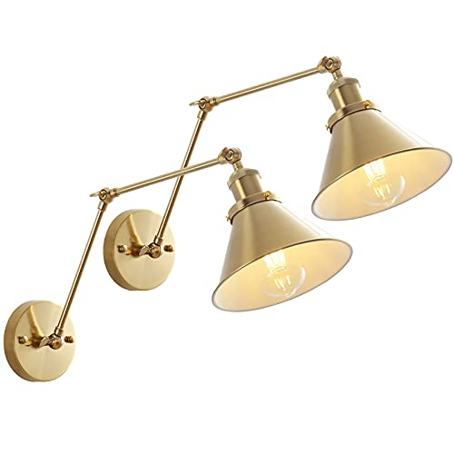 Gold Swing Arm Wall Lamp, Adjustable Hardwired Wall Sconce Set of 2 with Cone Shade Rotatable arm Sconce- OVANUS
