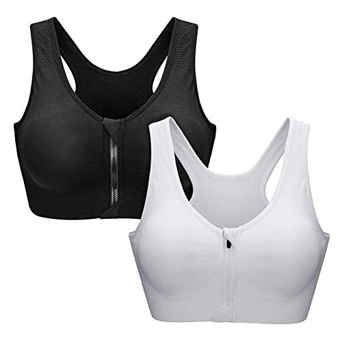 Zoerea Sports BH Damen Push Up Zip Front, 2er Pack Impact Yoga Bra, Gr.-S: Fit 70A 70B 70C 70D, Schwarz und Weiß