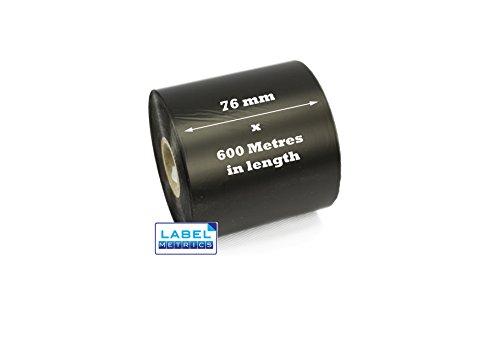 Label Metrics - 9 Black 76mm x 600 Meter Wax Grade Ribbons pour imprimantes de Transfert Thermique.