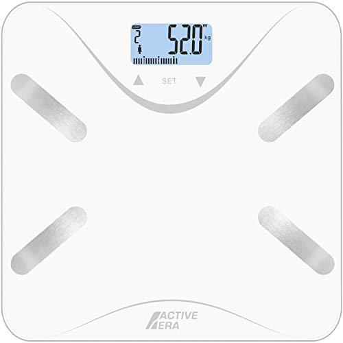 Active Era- Báscula de baño ultrafina para medir la grasa corporal. Analizador con{62804224bf1f4b1a3bf31c6825ba341f3f8ed2d84fdb501a101ada85c70fb165} de grasa corporal, IMC, edad, peso y altura - Blanco/Plata