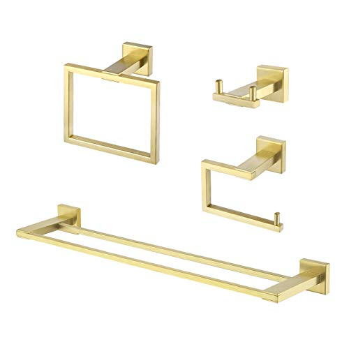 KES Bathroom Accessories Set Double Towel Bar Toilet Paper Holder Towel Ring Robe Hook 4-Pieces Wall Mount No Drill Rustproof Brushed Brass Finish, LA24BZDG-43