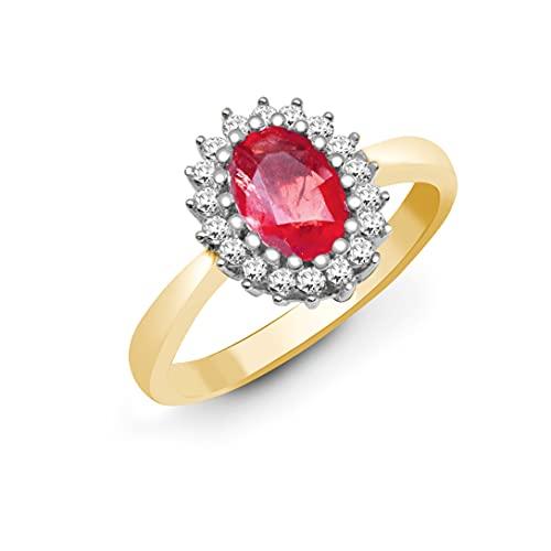 Jewelco Europa Señoras Oro Amarillo 9k 0.23ct Diamante 0.7ct Rubi racimo anillo