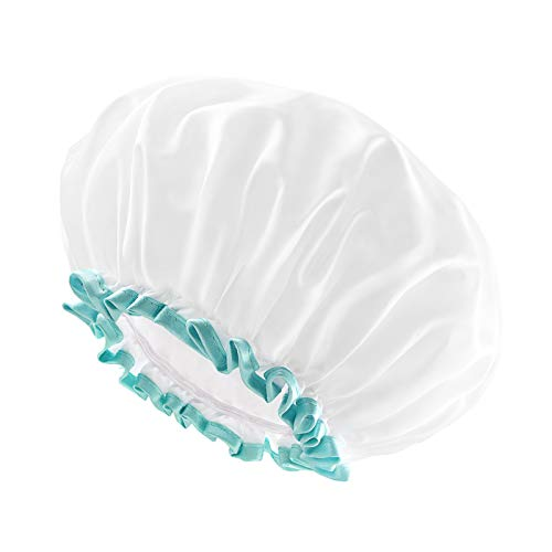 White Shower Cap for Long Hair 1 Pack, 12inch large size,Waterproof Washable Hair Caps for Women and Girls, Super Cute and Extra Large by mikimini