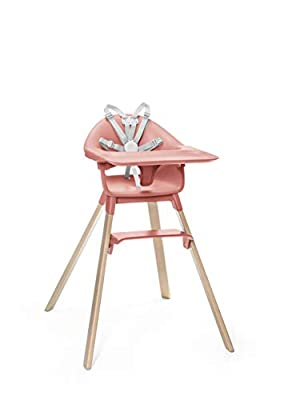 Stokke Clikk Easy to Clean Sunny Coral Baby High Chair with Natural Legs, All in One Box (Includes Tray and Harness)