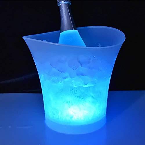 Cubo de hielo LED de plástico impermeable de 5 l para reuniones familiares, bares, clubes, restaurantes temáticos, bebidas, cerveza, zumo