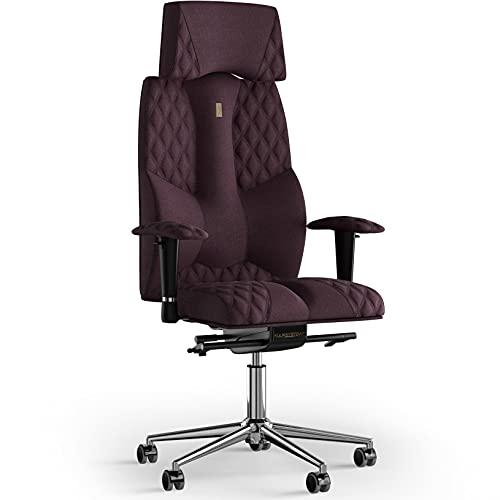 KULIK SYSTEM Business - Silla de oficina ejecutiva con respaldo ergonómico patentado y cojín de asiento - Silla CEO - Silla de ordenador en casa - Tela de costura (Azur - Violeta)