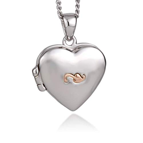 Clogau Womens Sterling Silver Rose and Welsh Gold Insignia Tree of Life SMALL Heart Locket