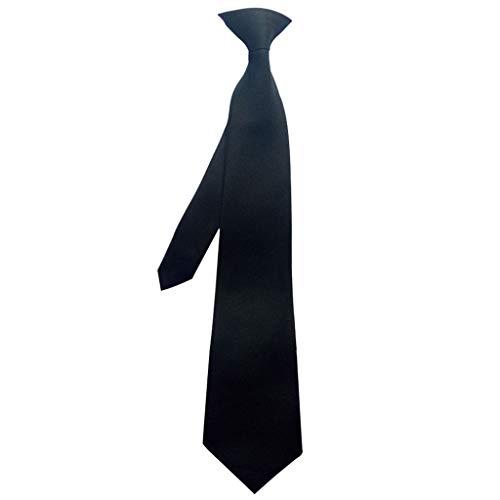 KJ-KUIJHFF Corbata para el cuello, 50 x 8 cm, uniforme para hombre, color negro sólido, seda de imitación, con clip, preatado para la seguridad de la policía, boda, funeral