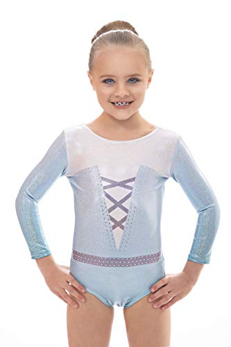 Velocity Gymnastics Leotard for Girls Glint Long and Short Sleeve (Glint Light Blue (Long Sleeve), 7-8 Years)
