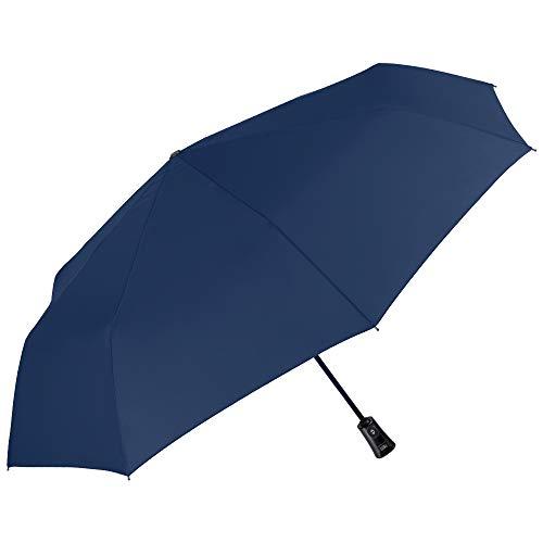 Paraguas Plegable Hombre Liso - Mini Compacto Colores Solidos - Ligero y Antiviento de Fibra de Vidrio - Abre y Cierra...