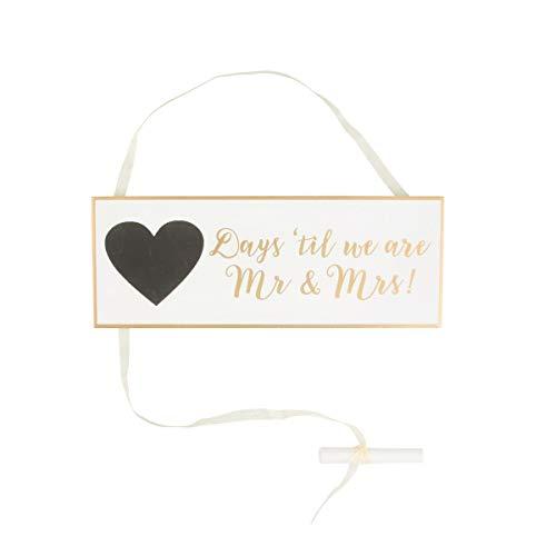 Hochzeits-Countdown-Plakette, gold und weiß, HEART506