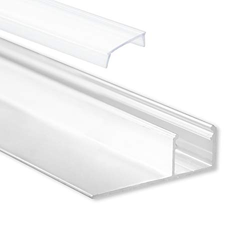 LED Aluminium Trockenbauprofil T4 Homam 2 Meter inkl. Abdeckung Opal (milchige Abdeckung) LED Trockenbauprofil 2m