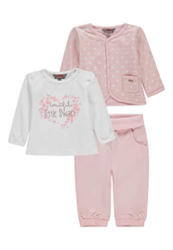 Kanz Baby-Mädchen Set 3tlg. (Jacke T-Shirt 1/1 Arm + Jogginghose) Bekleidungsset, Pink (Ballerina|Rose 2096), 56