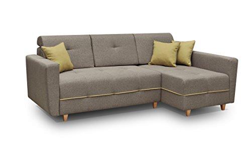 Ecksofa Sofa Eckcouch Couch mit Schlaffunktion und Bettkasten Ottomane L-Form Schlafsofa Bettsofa Polstergarnitur - TUCSON (Ecksofa Rechts, Braun)