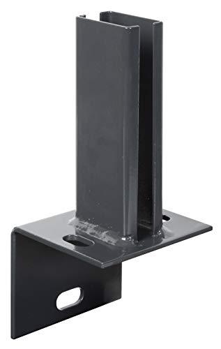 GAH-Alberts 686994 Pfostenträger für Zaunpfosten auf L-Randsteinen | zum Aufschrauben | feuerverzinkt, anthrazit kunststoffbeschichtet RAL 7016 | Platte 84 x 100mm | für Pfosten 60 x 40 mm