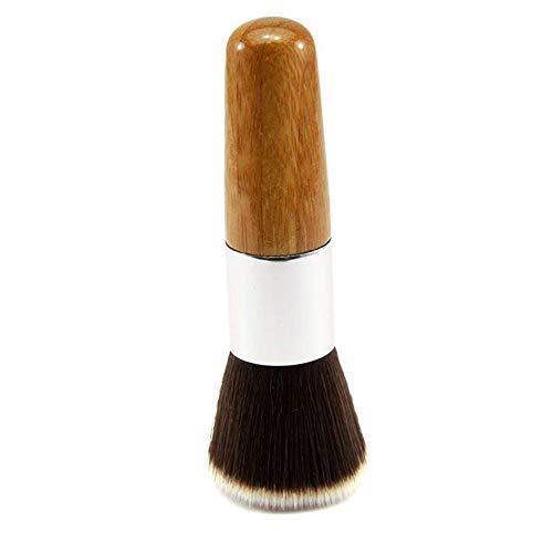 Maquillage Pinceau plat Haut de beauté Brosse en bambou bois brosse cosmétiques pour liquide crème de teint en poudre (Bronze)