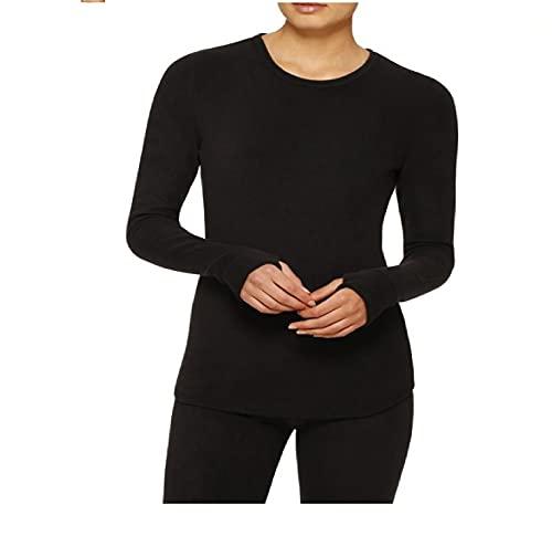 Cuddl Duds ClimateRight Women's Stretch Fleece Warm Underwear Long Sleeve Top (XS - Black)