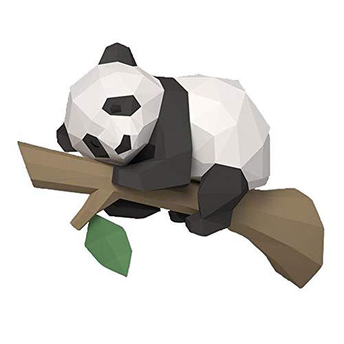 LilyJudy Modelo de Papel de Animal 3D, Panda en el áRbol Origami GeoméTrico para DecoracióN del Hogar, DecoracióN de Paredes, Juguetes Educativos para NiiOs, B