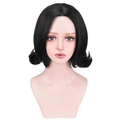 YOGFIT Women's Short Black Flip Wig 60's Bubble Flip Synthetic Halloween Cosplay Costume Wig