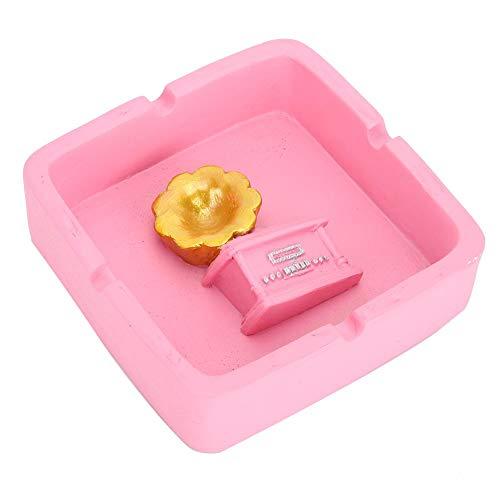 Cenicero de resina con forma de fonógrafo conveniente para usar, como un buen regalo para el día del padre(Pink)