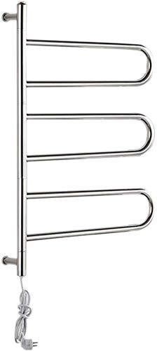 OJINYU Schwenkbarer Handtuchwärmer, poliert, Badzubehör Handtuchhalter Edelstahl Elektrischer Wandwärmer Turmhalter