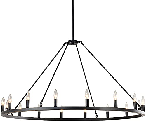 """7Pandas Wagon Wheel Chandelier, Large Rustic Farmhouse Round Kitchen Island Light, 50"""" 16-Lights for High Ceilings Dining Room and Hanging Light Fixtures , Bronze"""