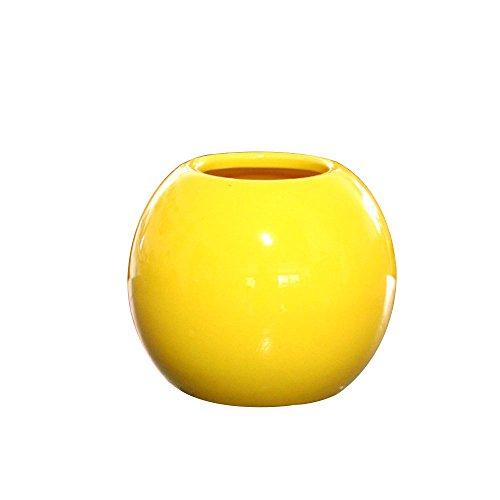 Bolange Jarrón de cerámica esférico Tridimensional Creativo Maceta de cerámica de Estilo Simple Accesorios para el hogar de la Boda (Amarillo)