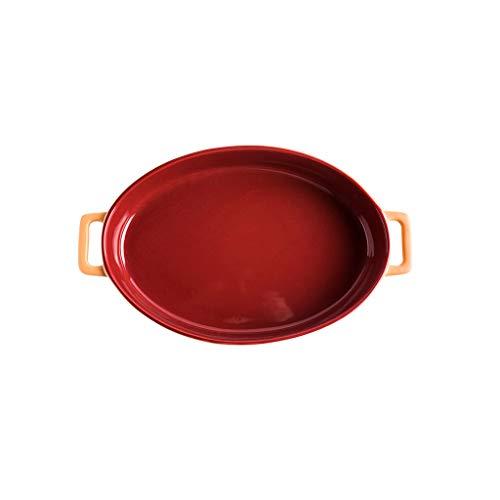 Plat en céramique en grès Plat à pâtisserie ovale Cuisson au four Plats à rôtir Vaisselle de cuisson Ustensiles de cuisson Ustensiles de cuisine de table , Rouge