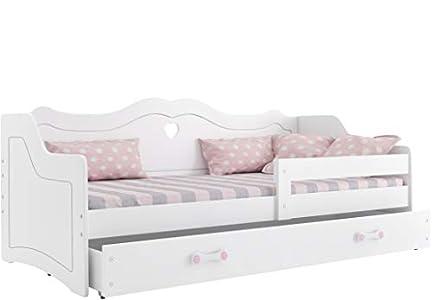 Cama individual infantil JULIA (colchon 160x80,somier y cajón GRATIS!) color blanco, diseño princesa