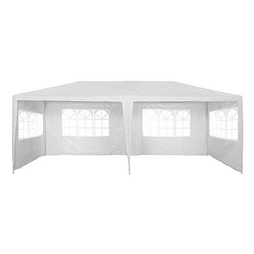 LARS360 3x6m Weiß Gartenpavillon Gartenzelt Bierzelt Pavillon Festzelt Strandzelt mit 4 Seitenwände 4 Fenster Polyethylen Stahlrohre Wasserdicht PE Plane