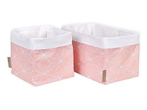 KraftKids Stoff-Körbchen in weiße dünne Diamante auf Altrosa, Aufbewahrungskorb für Kinderzimmer, Aufbewahrungsbox fürs Bad, Größe 20 x 20 x 20 cm