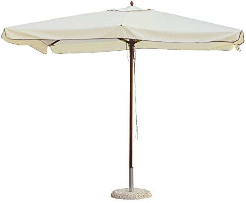 Morel Ombrellone da Giardino in Legno 2x3m Palo 48mm Ecrù
