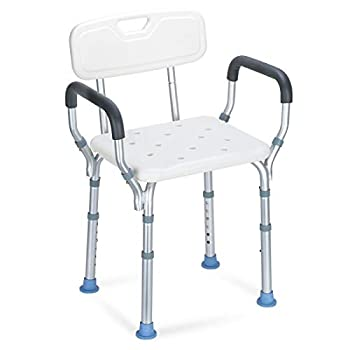 OasisSpace Heavy Duty Shower Chair with Back - Bathtub Chair with Arms for Handicap Disabled Seniors & Elderly - Adjustable Medical Bath Seat Handles - Non Slip Tub Safety
