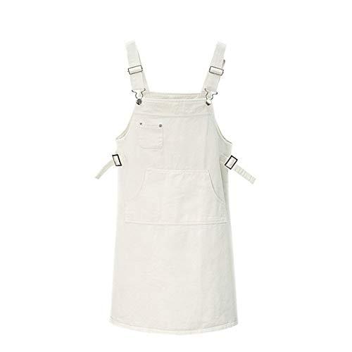 Latzrock Trägerkleid Hippierock für Damen Kurze Röcke Alternative Bekleidung Gerade Hosenträger Einfarbig Slim Fit Mini Lätzchen Casual Kleider Weiß 2XL