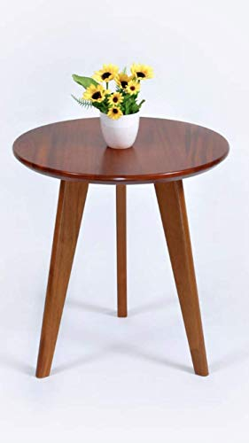 Side Table, Small Round, End Table, Coffee Table, Sofa Lamp Bedside, Table for Living Room, solid wood, Mahogany